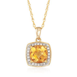 1.40 Carat Citrine Pendant Necklace With Diamond Accents in 14kt Yellow Gold, , default