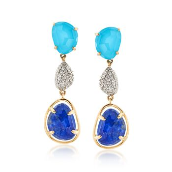 Turquoise and Lapis Doublet Drop Earrings With .26 ct. t.w. Diamonds in 14kt Yellow Gold, , default