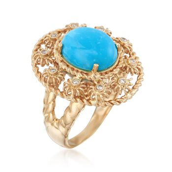 Turquoise Floral Ring With Diamond Accents in 14kt Yellow Gold, , default