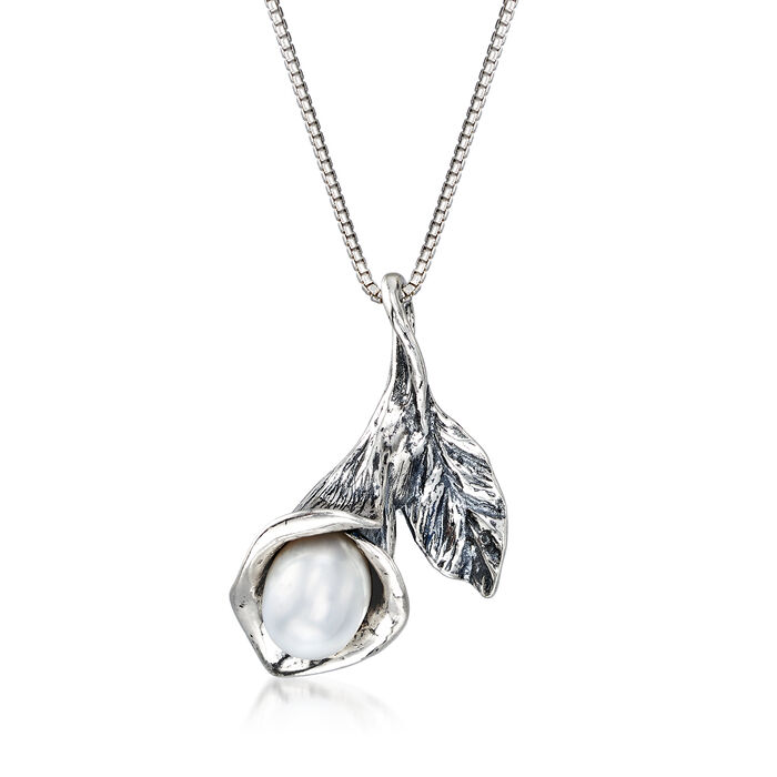 8x6mm Cultured Pearl Calla Lily Pendant Necklace in Sterling Silver
