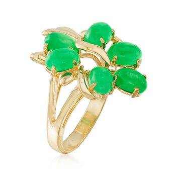 C. 1970 Vintage 6x4mm Green Jade Ring in 14kt Yellow Gold. Size 5, , default