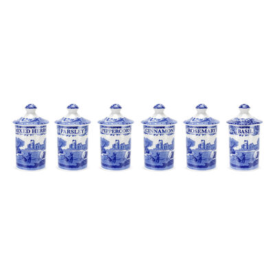 "Spode ""Blue Italian"" Set of 6 Spice Jars"
