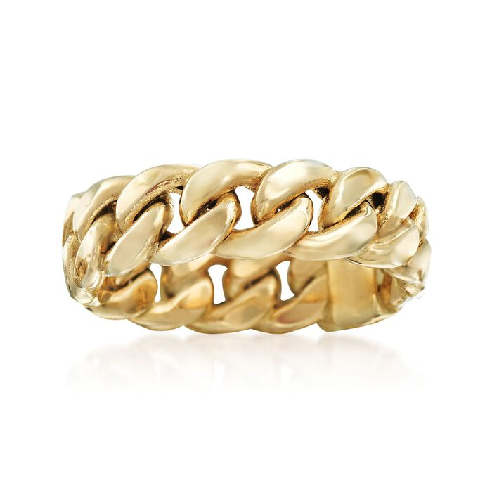 14kt Yellow Gold Curb-Link Ring. Size 8, , default