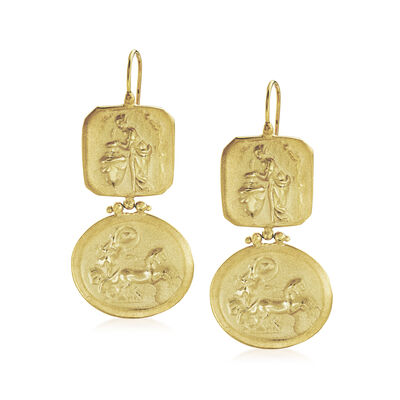 Italian Chariot of Aurora Drop Earrings in 18kt Gold Over Sterling, , default