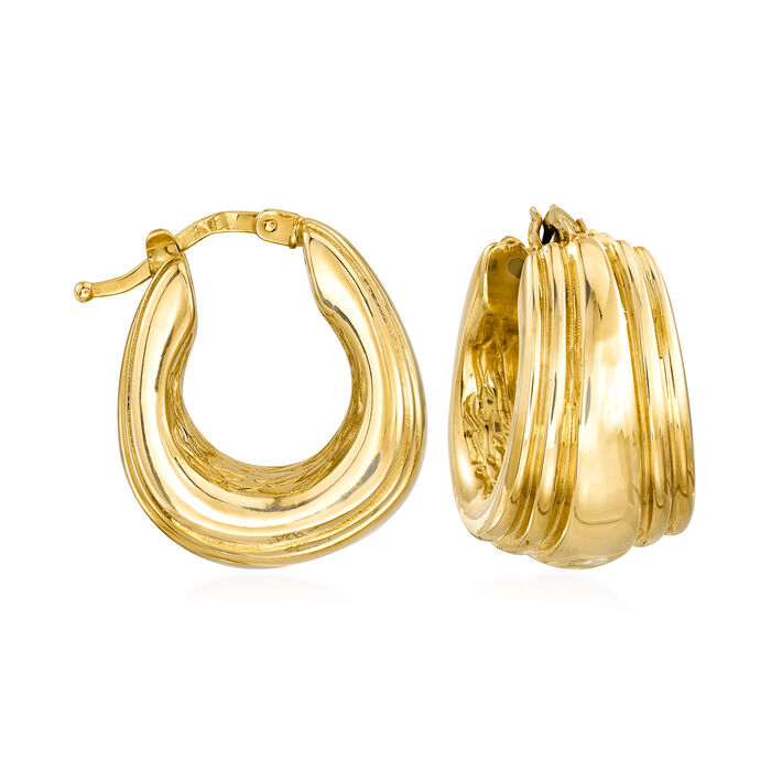 Italian 18kt Yellow Gold Hoop Earrings. 3/4""