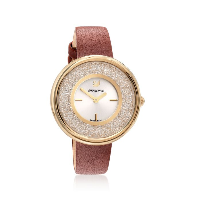 Swarovski Crystal Crystalline Pure Women's Goldtone Stainless Watch with Champagne Crystals and Brown Leather