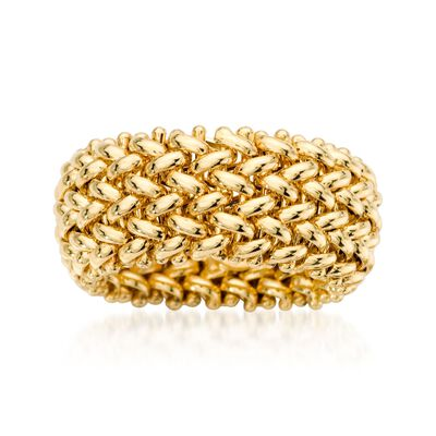 Italian 14kt Yellow Gold Beaded Mesh Ring, , default