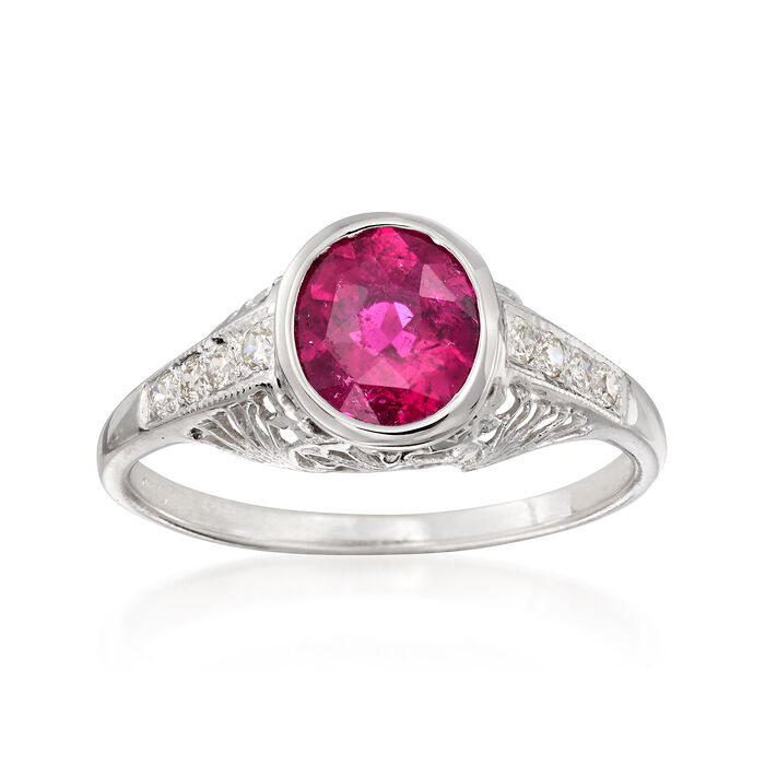 C. 1990 Vintage 1.15 Carat Pink Tourmaline and .20 ct. t.w. Diamond Filigree Ring in 14kt White Gold. Size 7