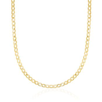 """3.5mm 14kt Yellow Gold Curb-Link Chain Necklace. 18"""", , default"""