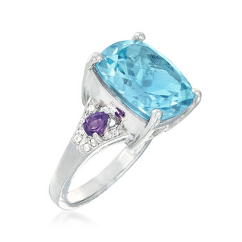 10.00 Carat Blue Topaz and .30 ct. t.w. Amethyst Ring With White Topaz Accents in Sterling Silver, , default