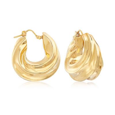 Italian Andiamo Fluted 14kt Yellow Gold Hoop Earrings, , default