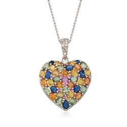 8.00 ct. t.w. Multicolored Sapphire and .10 ct. t.w. Diamond Heart Pendant Necklace in Sterling Silver, , default