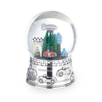 "Reed & Barton ""Race Car"" Silver Plate Race Car Water Globe, , default"