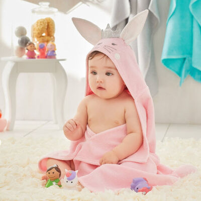 Elegant Baby Hooded Bunny Personalized Bath Towel, , default