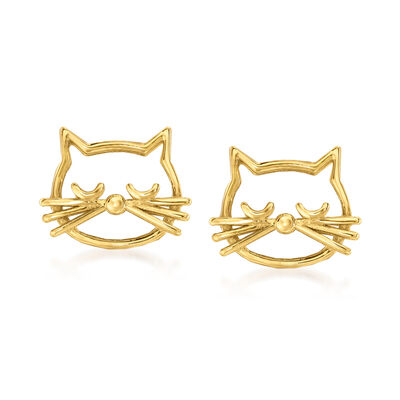 14kt Yellow Gold Cat Outline Earrings
