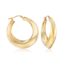 "Italian 18kt Yellow Gold Sculptural Hoop Earrings. 1 1/2"", , default"