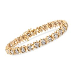 "2.00 ct. t.w. Diamond XO Tennis Bracelet in 18kt Gold Over Sterling. 7"", , default"