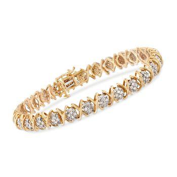 "2.00 ct. t.w. Diamond XO Tennis Bracelet in 18kt Gold Over Sterling. 7"", , default"