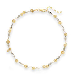 14kt Two-Tone Gold Circle and Marquise Anklet, , default