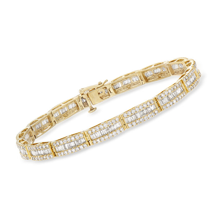 "5.65 ct. t.w. Round and Baguette Diamond Bracelet in 14kt Yellow Gold. 8"", , default"