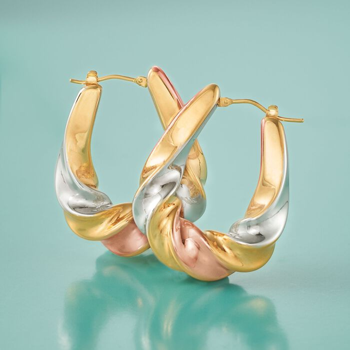 Italian Andiamo 14kt Tri-Colored Gold Scalloped Hoop Earrings
