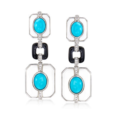 Multi-Gemstone and Diamond Drop Earrings in 18kt White Gold