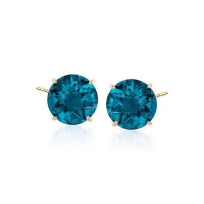 4.50 ct. t.w. London Blue Topaz Stud Earrings in 14kt Yellow Gold