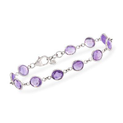 18.00 ct. t.w. Amethyst Bracelet in Sterling Silver, , default
