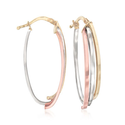 Italian 14kt Tri-Colored Gold Oval Hoop Earrings, , default