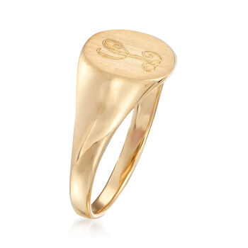 14kt Yellow Gold Single Initial Round Signet Ring. Size 9, , default