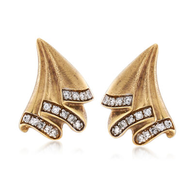 C. 1970 Vintage .84 ct. t.w. Diamond Fan Earrings in 14kt Yellow Gold, , default