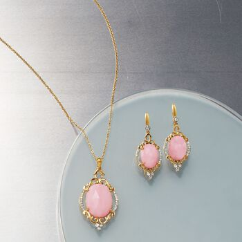 Pink Opal and .10 ct. t.w. Diamond Pendant Necklace in 14kt Yellow Gold, , default
