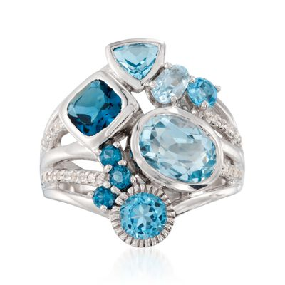 4.90 ct. t.w. Blue Topaz Ring with .10 ct. t.w. White Topaz in Sterling Silver, , default