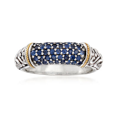 C. 1980 Vintage Phillip Gavriel .80 ct. t.w. Sapphire Ring in Sterling Silver and 18kt Yellow Gold