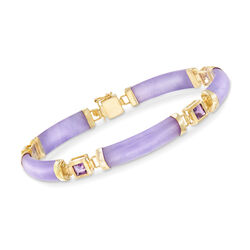 Purple Jade and 1.20 ct. t.w. Amethyst Bracelet in 14kt Gold Over Sterling, , default