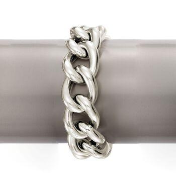 Italian Sterling Silver Curb-Link Bracelet, , default