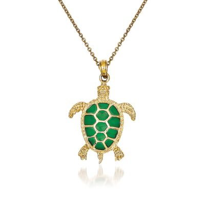 14kt Yellow Gold Sea Turtle Pendant Necklace with Green Acrylic, , default