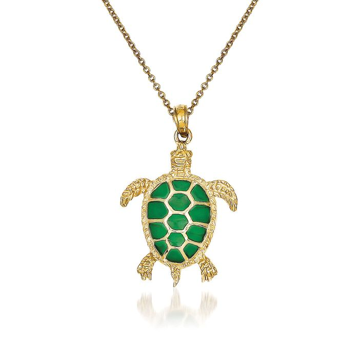 """14kt Yellow Gold Sea Turtle Pendant Necklace with Green Acrylic. 18"""""""
