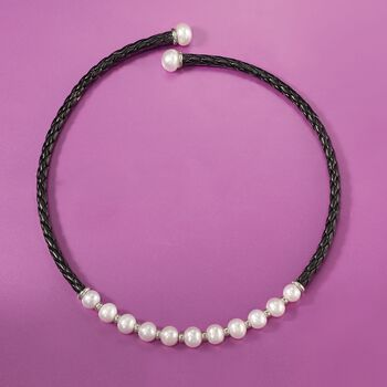 8-12mm Cultured Pearl and Black Leather Collar Necklace with Sterling Silver. 17""