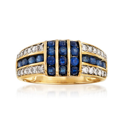 .90 ct. t.w. Sapphire and .25 ct. t.w. Diamond Ring in 14kt Yellow Gold