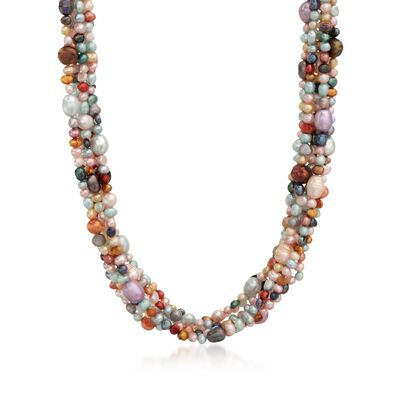 4-7.5mm Multicolored Cultured Pearl Torsade Necklace with Sterling Silver
