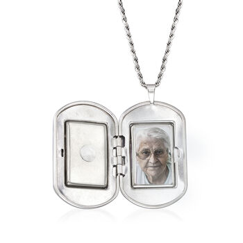 """""""In Loving Memory"""" Cross Memorial and Photo Locket Pendant Necklace in Sterling Silver"""