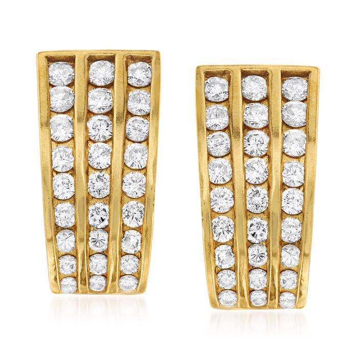 C. 1980 Vintage 3.00 ct. t.w. Diamond Triple-Row Earrings in 14kt Yellow Gold