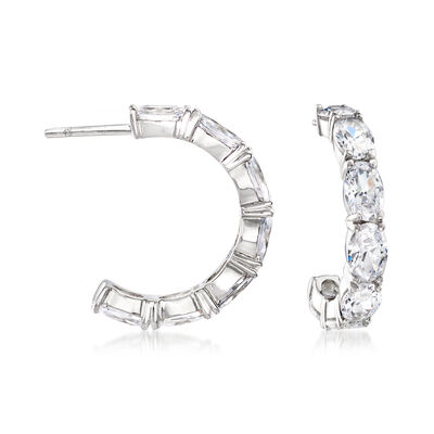 7.00 ct. t.w. CZ C-Hoop Earrings in Sterling Silver, , default