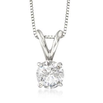 ".75 Carat Diamond Pendant Necklace in 14kt White Gold. 18"", , default"