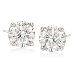 3.00 ct. t.w. CZ Stud Earrings in 14kt White Gold, , default