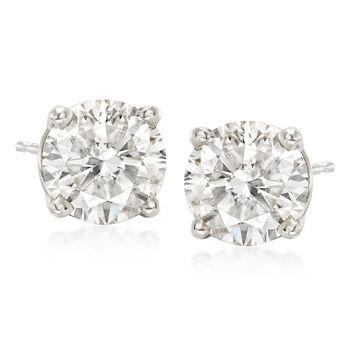 3.00 ct. t.w. CZ Stud Earrings in 14kt White Gold, , default