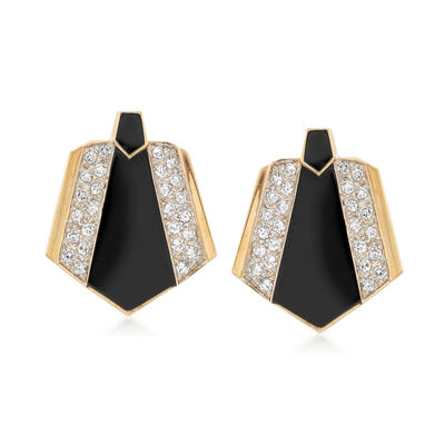 C. 1960 Vintage Black Onyx and 1.55 ct. t.w. Diamond Fan Earrings in 14kt Yellow Gold, , default