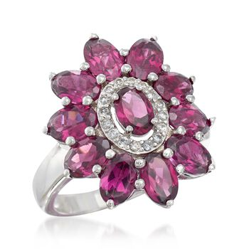 5.50 ct. t.w. Rhodolite Garnet and .20 ct. t.w. White Zircon Flower Ring in Sterling Silver, , default