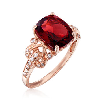 3.90 Carat Garnet and .15 ct. t.w. Diamond Ring in 14kt Rose Gold, , default